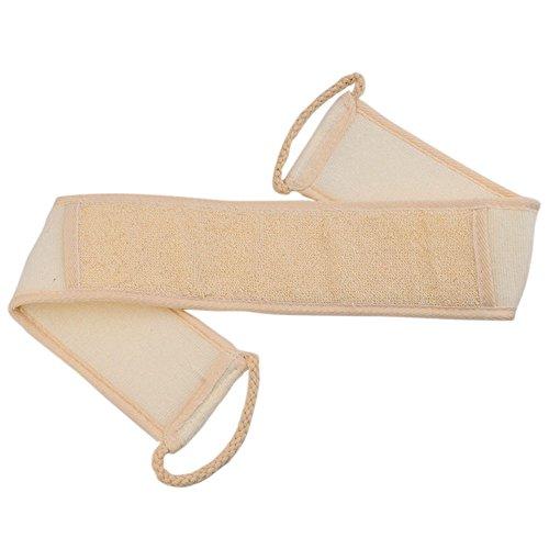 Vococal® 2 Pcs Double Face Coton Lin Naturel Loofah Eponge Sangle Arrière Bain Douche SPA Massage Exfoliante Épurateur avec Poignée