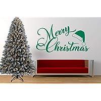 Merry Christmas citazione, Natale, Cappello da Babbo Natale, adesivo da parete in vinile, murale, adesivo. Casa, decorazione murale, soggiorno.