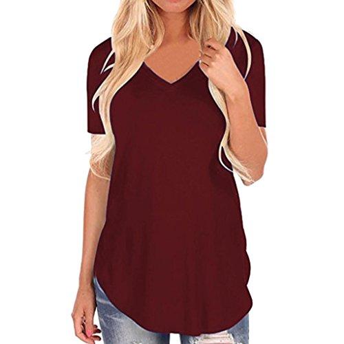 OVERDOSE Frauen Kurzarm V-Ausschnitt Unregelmäßiger Hemd Lose Damen Casual Tee T-Shirt Tops Sommer Oberteile(Wine,S (Maßgeschneiderte Damen-shirt)