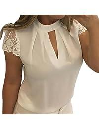 Blusen Damen Kolylong Frauen Elegant Spitze Kurzarm Bluse Festlich Chiffon  Oberteile Sommer V-Ausschnitt Shirt… a4c30a82d4