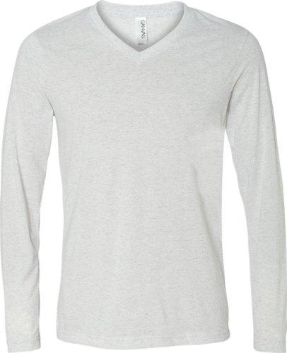 Bella+Canvas: Men`s Triblend LS V-neck T-Shirt 3425 Weiß - weiß
