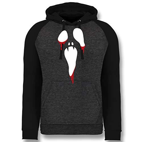 Shirtracer Halloween - Scream Halloween - M - Anthrazit meliert/Schwarz - JH009 - Baseball Hoodie