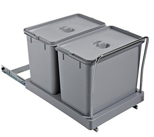 ELLETIPI Tower pa710Papelera Reciclaje extraíble para Base, plástico y Metal, Gris, 34x 46x...