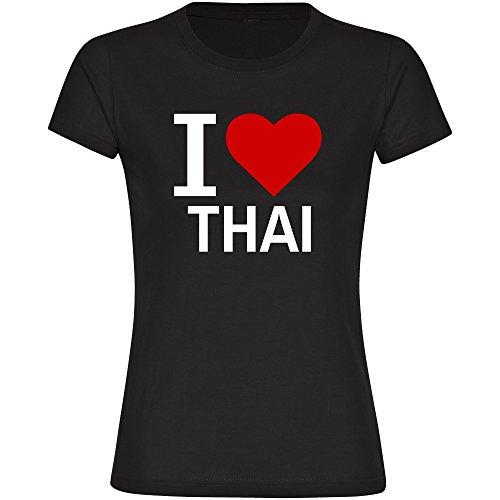 T-Shirt Classic I Love Thai schwarz Damen Gr. S bis 2XL, Größe:L (Schurz Thai)