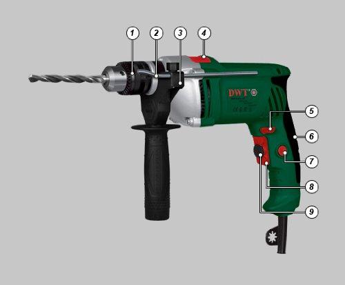 Schlagbohrmaschine Bohrmaschine 810 Watt mit Zahnkranzbohrfutter, Drehzahlregler, Soft-Grip, Funktionswechselschalter, R/L- Lauf, Zusatzhandgriff, Feststellschalter, Tiefenanschlag – DWT Swiss AG / SBM-810 - 2