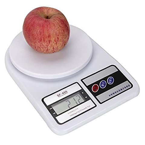 OddBitsnBobs Great Value Kitchen Scale 10Kg x 1g SF-400 ABS Plastic LCD Large Capacity Kitchen Diet Food Digital Scale White by OddBitsnBobs