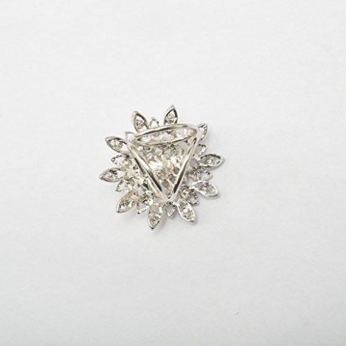 Generic Tournesol Cristalline Broche Echarpe de 3 Anneaux Pin's Boucle de Foulard Bijoux Cadeau Femmes Argent