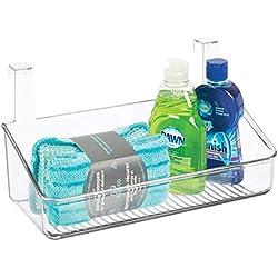 mDesign étagère suspendue pour la cuisine, la salle de bain et le débarras – panier suspendu en plastique pour la porte – meuble de rangement pour le stockage des détergents, etc. – transparent