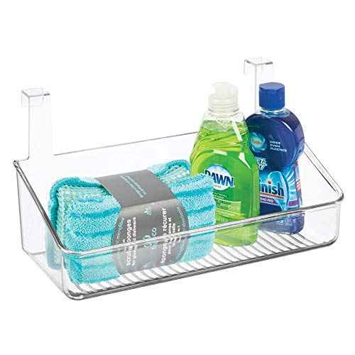 mDesign Organizador Colgante para Cocina, baño o despensa - Cesta Colgante para Puertas en plástico - Organizador de Productos de Limpieza, champú y Otros Accesorios - Transparente