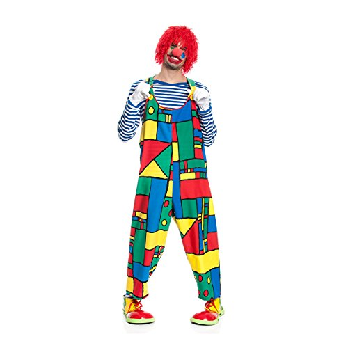 Kostümplanet Clown-Latzhose Herren Clown-Kostüm lustige Zirkus Kostüm Faschingskostüm Größe 54