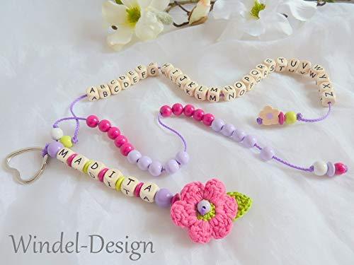 ABC - Rechenkette mit Namen Häkelblume Blume Mädchen Lernhilfe Zählkette Rechenwurm Schule Einschulung