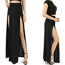 Duanmei Falda Sexy Moda Negro/Rosa Falda Maxi Cintura Alta Raja Lateral Split Falda Larga