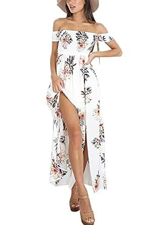 Sommerkleider Damen Lang Strand Abendkleid Schulterfrei ...