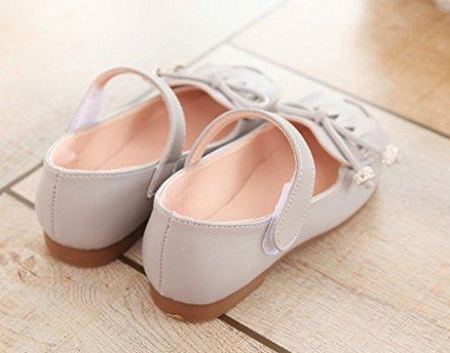 Ohmais Enfants Filles Chaussure cérémonie Ballerines à bride Fête Demoiselle d'honneur Mariage Escarpin à petit talon Gris