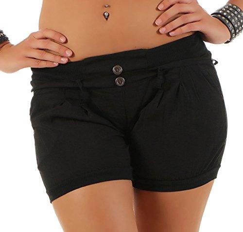 malito Damen Shorts in Unifarben   lässige kurze Hose   Bermuda für den Strand   Pants - Hotpants 6089 (schwarz, L)