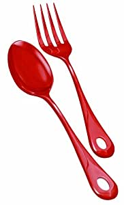 Nigella Lawson Living Kitchen Melamine Serving Spoon & Fork Red