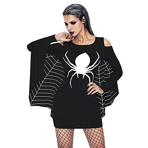 MAYOGO Halloween Deko Spinnennetz,Halloween Damen Fledermaus Kleid mit -