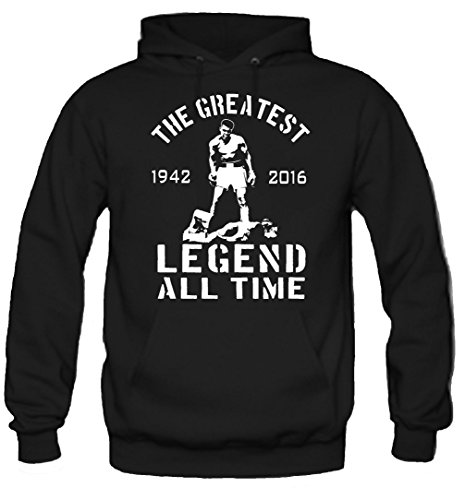 The Greatest Kapuzenpullover | Muhammad Ali | Boxing | Cassius Clay | Männer | Herrn | Legende | Rest in Peace (XL, Schwarz) -