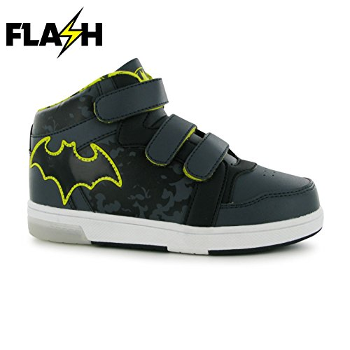 Herren Batman Schuhe (Character Lights Up Hi Top Kinder Blink Turnschuhe Leuchtend Sneaker Schuhe Batman C9)