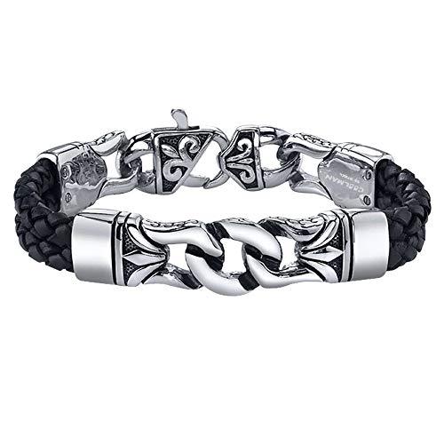 COOLMAN Herren Leder Armband Schwarzes u. Silbernes Stulpe Armband Wristband für Männer (Mit hochwertiger Schmuck schatulle) - 23 cm