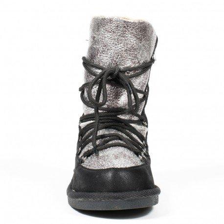 Ideal Shoes - Bottines fourrées bi-matière Veline Noir