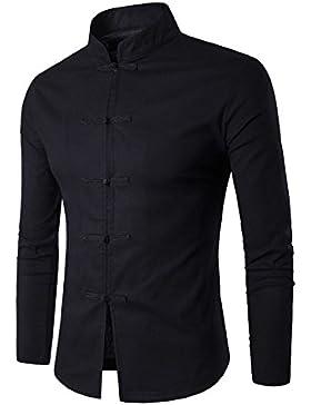 Gladiolus Camicia Uomo Slim Shirts Cinesi Tang Casual Camicia Manica Lunga Camicia