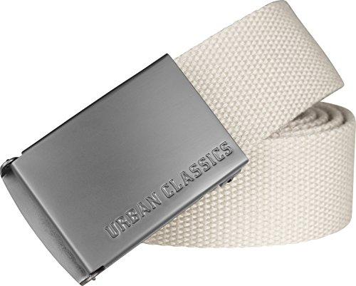 Urban Classics TB305 Unisex Gürtel Canvas Belt für Herren und Damen, stufenlos verstellbarer Stoffgürtel, Elfenbein (Sand 208), Gr. One Size