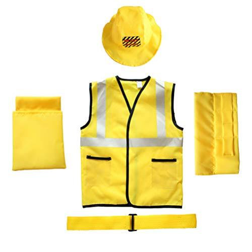 Kostüm Kinder Bauarbeiter - TOYANDONA 5 Stücke Kinder Bauarbeiter Kostüm Set mit Weste Gürtel und Hut Halloween Rollenspiel Spielzeug