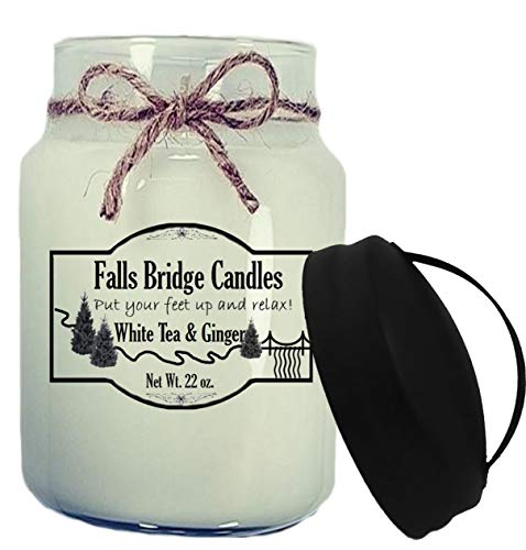 Falls Bridge Candles White Tea & Ginger Scented Jar Candle, 22-Ounce, w/Handle Lid Floral Ginger Jar