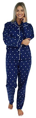 PajamaMania Flanell Pyjama für Damen, Schlafanzug, Marineblau und Tupfen (PMF1002-2062-UK-XL)