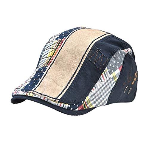 HX fashion Herrn Baumwolle Gatsby Caps Winter Sommer Newsboy Bequeme Größen Kappe Golf Hut Baskenmütze Schiebermütze Schirmmütze Kleidung (Color : Tiefes blau, Size : One Size)