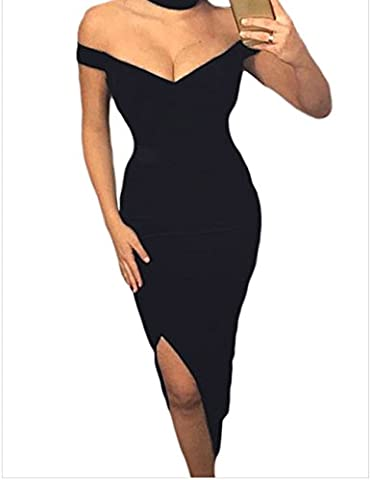 MEINICE Womens Luxurious Velvet Long Party Dress with Choker L