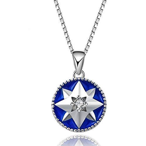 Thumby S925 Sterling Silber Halskette Temperament Eingelegten Zirkon Tropfen Öl Anis Stern Anhänger Weibliche Schlüsselbein Mode-Accessoires, Blau, Wie Gezeigt -