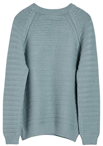 Vogueearth Fashion Femme's Crew Neck Basic Knit Jumper Sweater Chandail Tricots Pullover Top Bleu-Vert