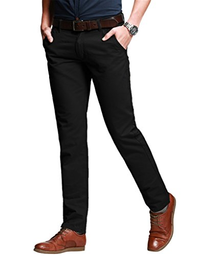 Match Men's Slim Stretchy Casual Trousers#8050(8050 Black,32)