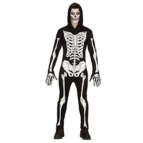Widmann 49501 - Erwachsenenkostüm Skelett, Overall mit Kapuze und Handschuhe, Größe S