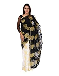 A1 Fashion Women Silk Black Saree With Blouse Piece
