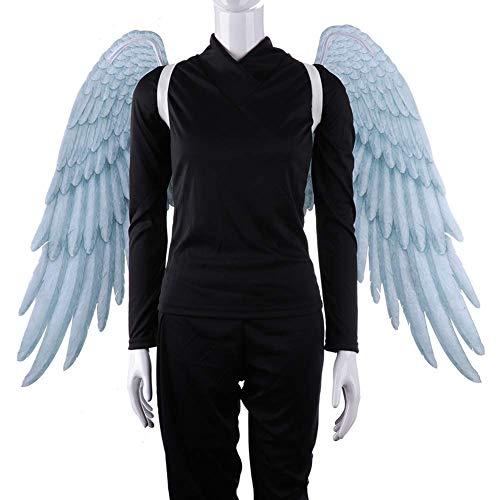 Große Kostüm Flügel Engel Extra - BriskyM Fee Flügel, Extra große 3D Print Feder Halloween Fee Engelsflügel für Kind Erwachsene Engelsflügel Kostüm Fee Feder für Halloween Party Zubehör (Weiß, Kinder)