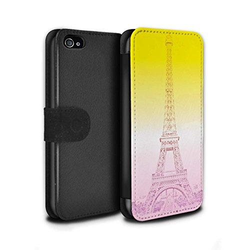 STUFF4 PU-Leder Hülle/Case/Tasche/Cover für Apple iPhone 4/4S / Eiffelturm Skizze Muster / Lebendige Ombre Kollektion Eiffelturm Skizze