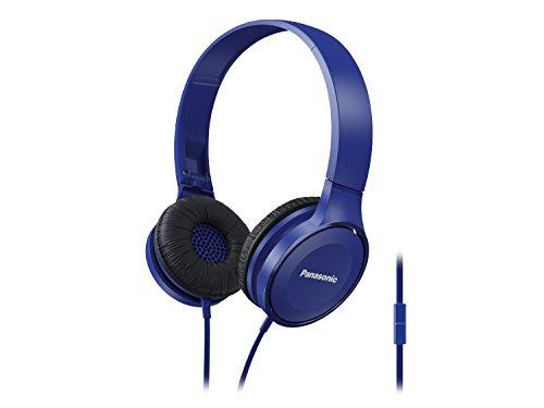 Panasonic On Ear Stereo Headphones RP-HF100M-A with Integrated Mic and Controller, Travel-Fold Design, Matte Finish, Blue