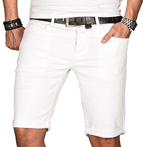 A. Salvarini Herren Designer Jeans Short Kurze Hose Slim Sommer Shorts Bermuda [AS-107-W36] -
