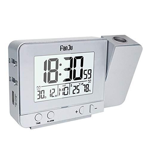 Digitaler Wecker,Wecker Funk,Einstellbare Helligkeit LED-Projektions-Digital-Wecker mit Zeittemperatur USB-Kabel für Home Office Schlafzimmer Wohnzimmer Silber