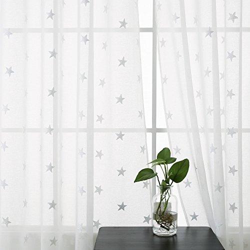 Deconovo 2er Set Voile Gardinen mit Ösen Vorhang Leinenoptik Transparent Gardinen mit Stickerei 180x140 cm Stern Weiß