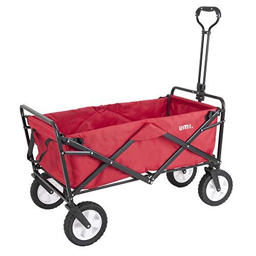 Umi. Essentials Bollerwagen Transportwagen Ausziehbarer Griff Handwagen Transportkarre Faltbar Gartenwagen 360°Drehbar (Rot)