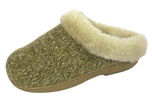 COOLERS Pantoufles PREMIER tricot confort fourrure Semelle extérieure Beige Mulets Rose 8 Beige - Beige (Biscuit) Knitted Mules