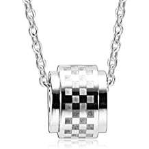 "AnaZoz Joyería de Moda Collar de Unisex Acero Inoxidable 2 Pcs Parejas CZ Redonda ""Forever Love"" Collar Para Pareja"