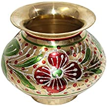 Handpainted Meenakari Brass Karwa Chauth Lota, Karwa Lota, Karva Lota, Brass Karwa, Karwa Kalash, Pooja Kalash, Pooja Lota-3.5 Inches
