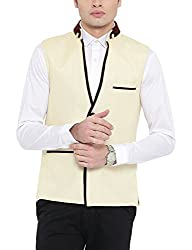 Platinum Studio Mens Mandarin Collor Waistcoat (NJ-777-CRM-44, Cream )