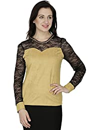 SVT ADA COLLECTIONS SWADE Mustard Color Designer TOP with NET Sleeves & Yoke (022521_Mustard_Medium)