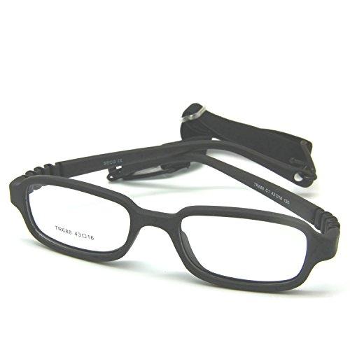EnzoDate Kinder optische Brillengestell mit Gurt, Safe biegsam Größe 43/16 (Schwarz)